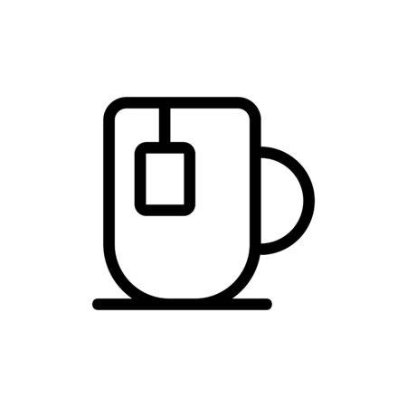 Mug tea icon vector. Thin line sign. Isolated contour symbol illustration
