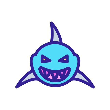 Shark icon vector. Thin line sign. Isolated contour symbol illustration