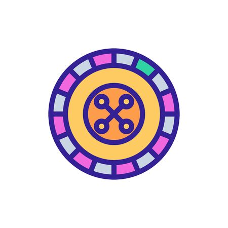 Roulette casino icon vector. Thin line sign. Isolated contour symbol illustration Vettoriali