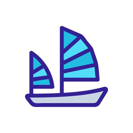 ship sail icon vector. Thin line sign. Isolated contour symbol illustration Ilustracja