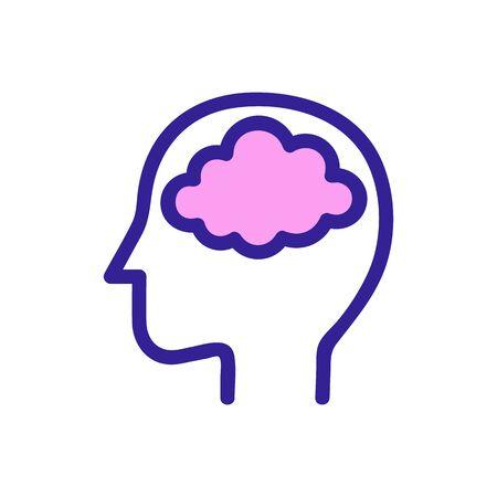 Head brain icon vector. Thin line sign. Isolated contour symbol illustration