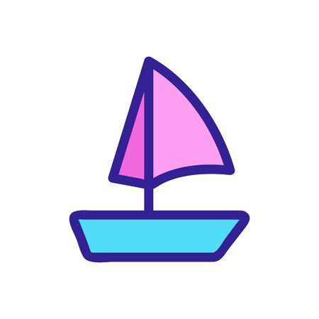 yacht sail icon vector. Thin line sign. Isolated contour symbol illustration