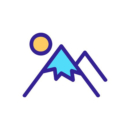 The mountain sun icon is a vector. Thin line sign. Isolated contour symbol illustration Stock Illustratie