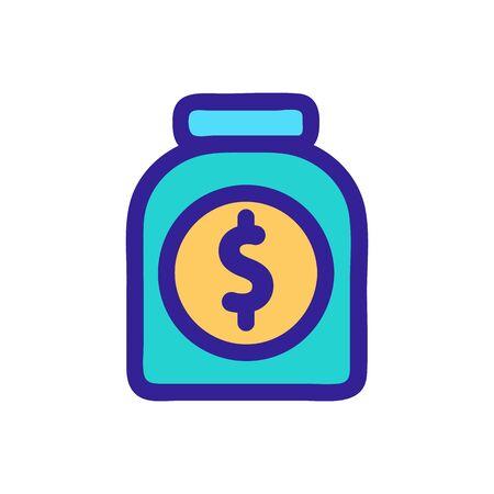 Dollar piggy bank icon vector. Thin line sign. Isolated contour symbol illustration Stock Illustratie