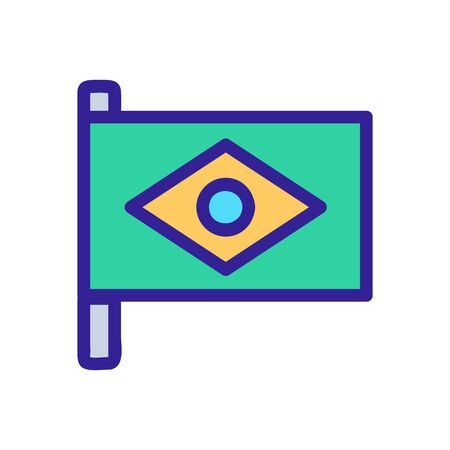 Brazil flag icon vector. Thin line sign. Isolated contour symbol illustration