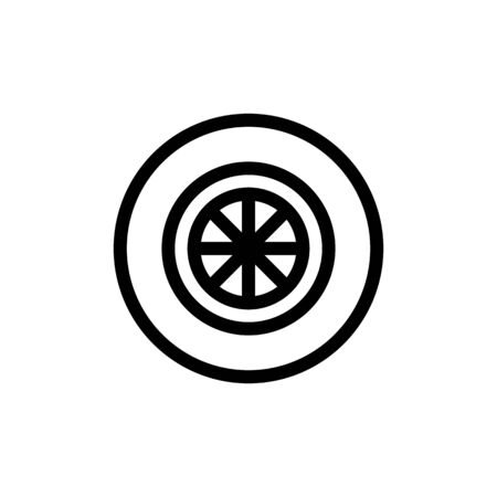tire icon vector. Thin line sign. Isolated contour symbol illustration