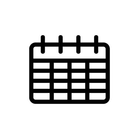 Calendar icon vector. Thin line sign. Isolated contour symbol illustration
