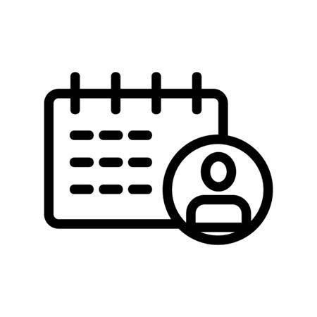 Calendar man icon vector. Thin line sign. Isolated contour symbol illustration 일러스트