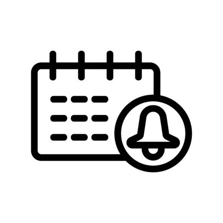 Calendar bell icon vector. Thin line sign. Isolated contour symbol illustration 일러스트