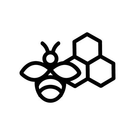 Honey bee icon vector. Thin line sign. Isolated contour symbol illustration Ilustração