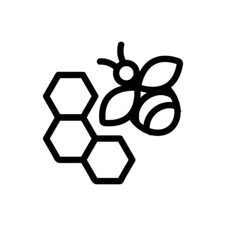 Honey bee icon vector. Thin line sign. Isolated contour symbol illustration Illusztráció