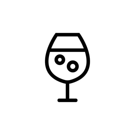 glass of wine icon vector. Thin line sign. Isolated contour symbol illustration