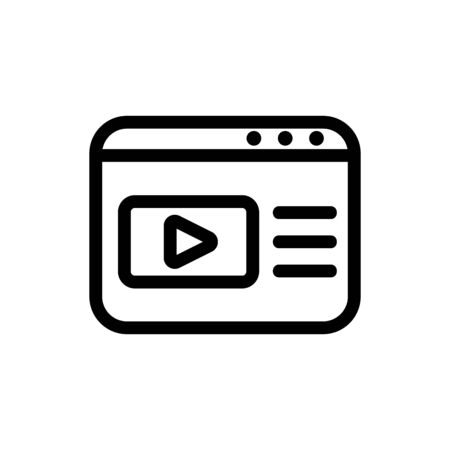 browser video icon vector. Thin line sign. Isolated contour symbol illustration Illustration
