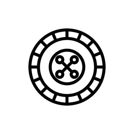 Roulette casino icon vector. Thin line sign. Isolated contour symbol illustration Ilustração