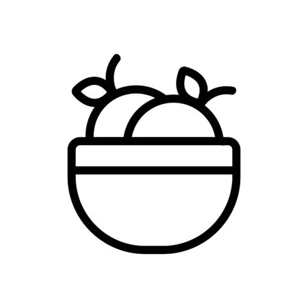 Peach icon vector. Thin line sign. Isolated contour symbol illustration