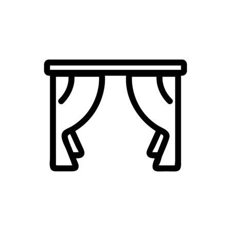 curtain icon vector. Thin line sign. Isolated contour symbol illustration  イラスト・ベクター素材