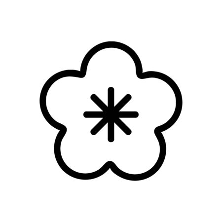 Sakura flower icon vector. Thin line sign. Isolated contour symbol illustration Illustration
