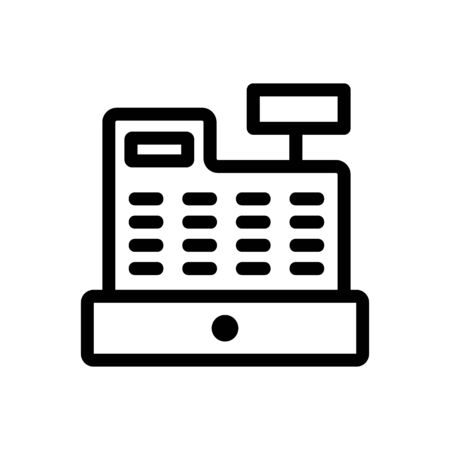 Cash register icon vector. Thin line sign. Isolated contour symbol illustration