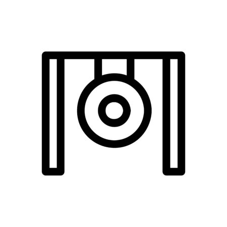 gong icon vector. Thin line sign. Isolated contour symbol illustration