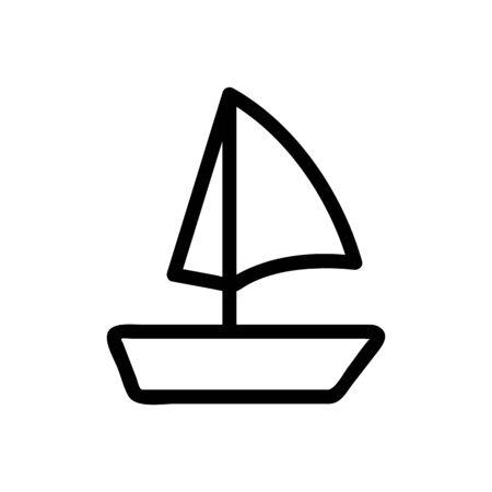 yacht sail icon vector. Thin line sign. Isolated contour symbol illustration Ilustracja