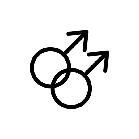 same-sex marriage icon vector. Thin line sign. Isolated contour symbol illustration