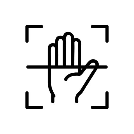 Scanner palm icon vector. Thin line sign. Isolated contour symbol illustration