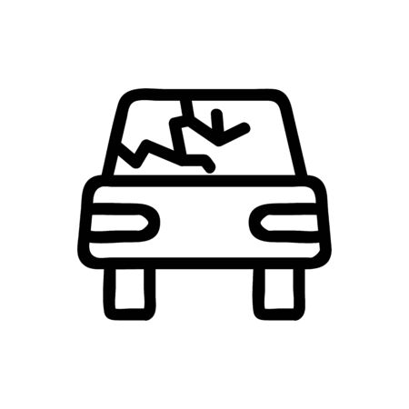 Broken car icon vector. Thin line sign. Isolated contour symbol illustration Ilustracja