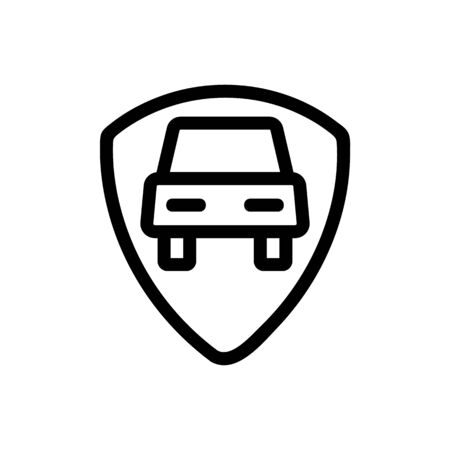 Car protection icon vector. Thin line sign. Isolated contour symbol illustration
