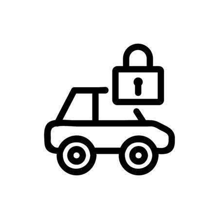 Car lock icon vector. Thin line sign. Isolated contour symbol illustration