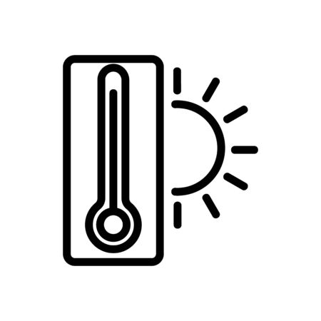 Temperature icon vector. Thin line sign. Isolated contour symbol illustration