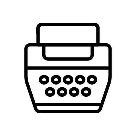 typewriter icon vector. Thin line sign. Isolated contour symbol illustration