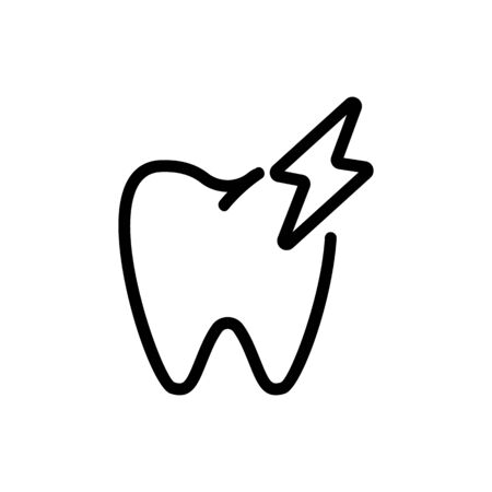 toothache icon vector. Thin line sign. Isolated contour symbol illustration Ilustracja