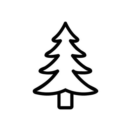 Christmas tree icon vector. Thin line sign. Isolated contour symbol illustration