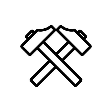 blacksmith hammer icon vector. Thin line sign. Isolated contour symbol illustration Vettoriali