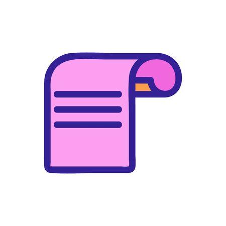 receipt dollar icon vector. Thin line sign. Isolated contour symbol illustration 矢量图片