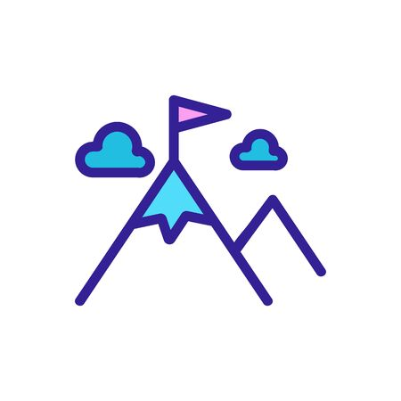 Mountain icon vector. Thin line sign. Isolated contour symbol illustration