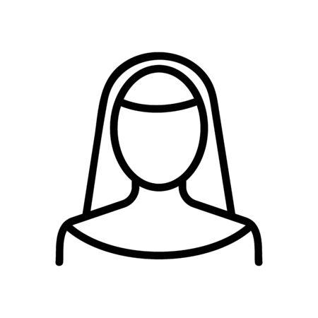 nun icon vector. Thin line sign. Isolated contour symbol illustration Ilustrace