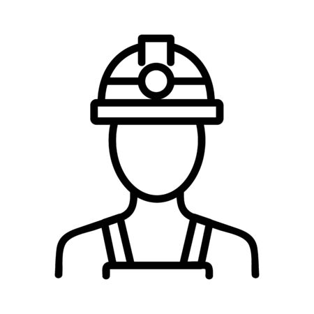 miner icon vector. Thin line sign. Isolated contour symbol illustration