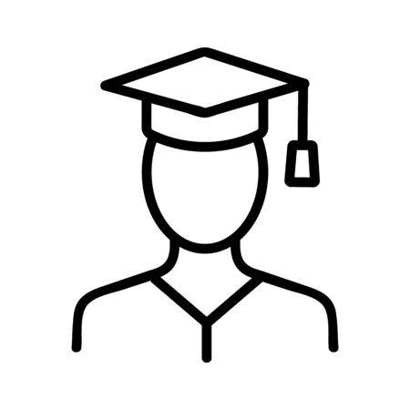 Student icon vector. Thin line sign. Isolated contour symbol illustration