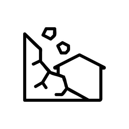 landslide Icon vector. Thin line sign. Isolated contour symbol illustration Ilustração