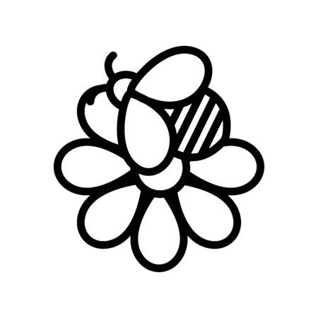 Bee flower icon vector. Thin line sign. Isolated contour symbol illustration