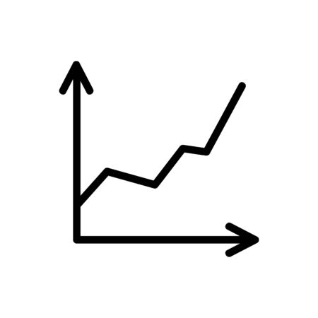 chart icon vector. Thin line sign. Isolated contour symbol illustration