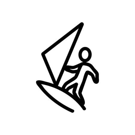 surfboard sea beach icon vector. Thin line sign. Isolated contour symbol illustration Ilustração