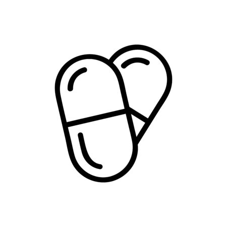 pain pill icon vector. Thin line sign. Isolated contour symbol illustration