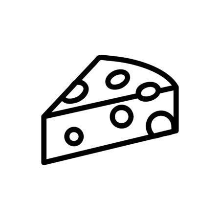 cheese icon vector. Thin line sign. Isolated contour symbol illustration Ilustracja