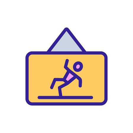 Wet floor caution icon vector. Thin line sign. Isolated contour symbol illustration