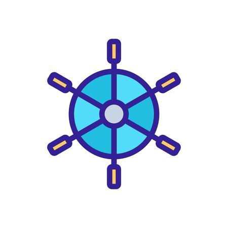 steering wheel sea vector icon. Thin line sign. Isolated contour symbol illustration