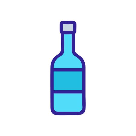 bottle wine icon vector. Thin line sign. Isolated contour symbol illustration