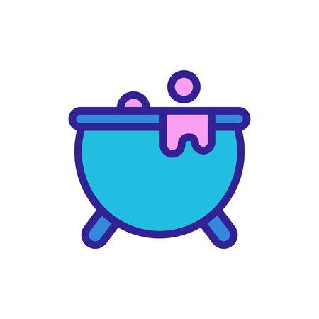 Cauldron magician icon vector. Thin line sign. Isolated contour symbol illustration Çizim
