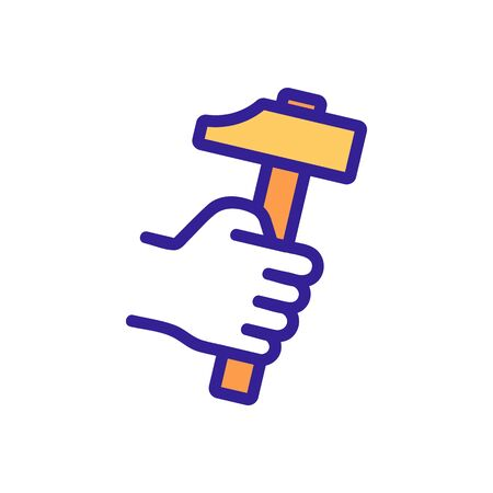 Blacksmith hammer hand icon vector. Thin line sign. Isolated contour symbol illustration
